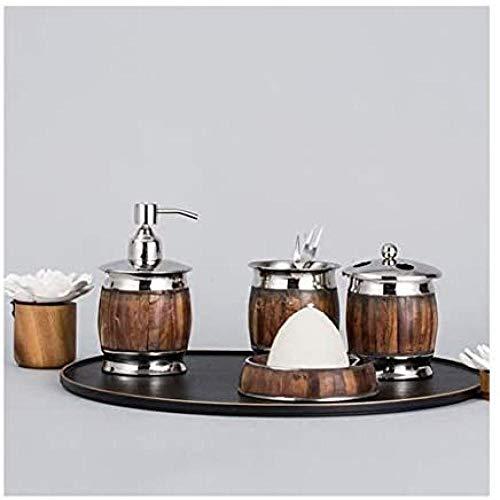 HUANGH Juego de baño Baño de Metal tocador encimera Accesorio Set dispensador de jabón, Soporte de Cepillo de Dientes, Vaso de Enjuague de Vaso, Plato de jabón