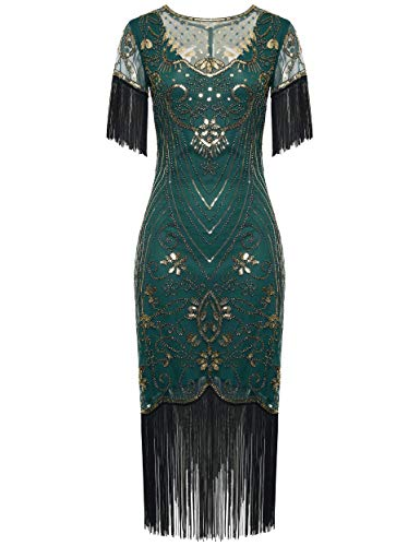 Coucoland 1920s Kleid Damen Kurz Fransen Ärmel Flapper Kleid 20er Jahre Paillettenkleider Great Gatsby Cocktail Party Damen Fasching Kostüm...