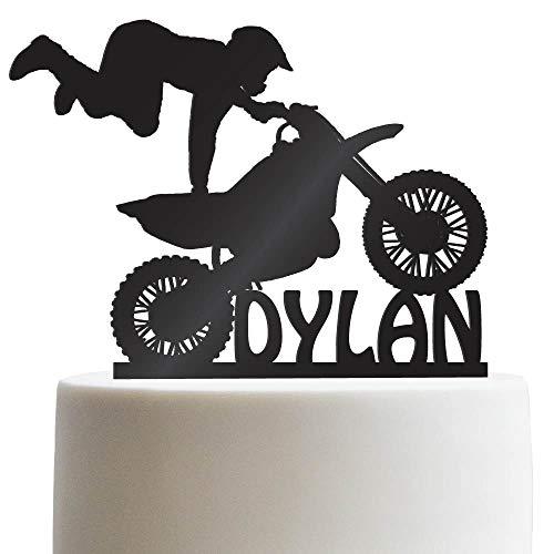 Motocross Customized Birthday Cake Topper Dirt Bike Personalized Birthday Cake Topper | Solid Color Cake Topper