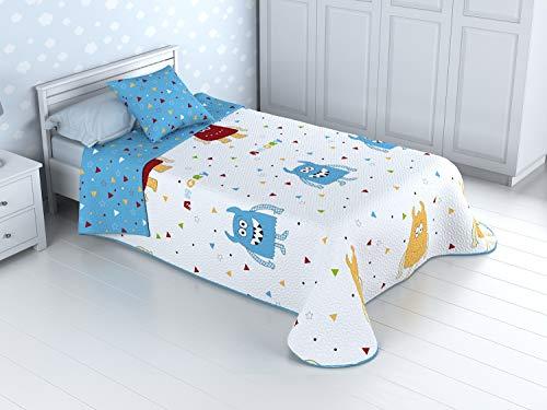 Colcha Bouti Infantil Reversible 100% con Funda de cojín y Tacto algodón Mod. Monster (Cama de 105 cm (200_x_260 cm))