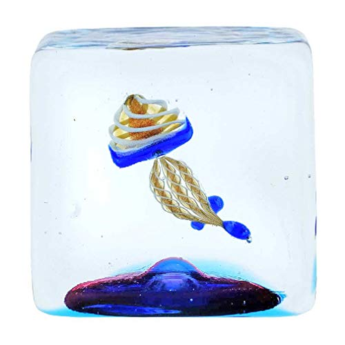 Glass Of Venice Murano Glas Aquarium Würfel mit Quallen - 1-1/4 Zoll