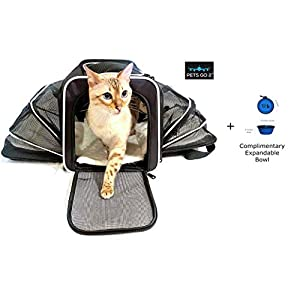 Premium Small Pet Carrier for Puppies, Small Dogs & Cats – Airline Approved – Expandable Walls for More Room, Top and Side Exits, Ultimate Comfort with Sherpa Padding, Washable, Durable Construction