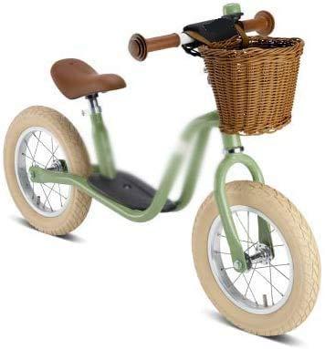 Las mejores bicicletas de balance retro de los niños, adecuados para niños menores de 3 años, son adecuados para niños menores de 3 años (con campanas y cestas),Green