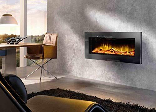 Elektrokamin Premium wodtke feel the flame® No.1 prime black - keramische Holzscheite (LED Flammeneffekt, 20 W Stromverbrauch, max. 2 KW Heizleistung, wartungsfrei, Fernbedienung inkl.)