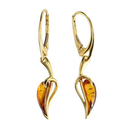 Pendientes de ámbar Artisana, pendientes de plata de ley 925/000 chapada en oro y ámbar
