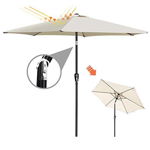 Ombrellone da Giardino con LED Solare Ombrellone Alluminio da Terrazzo Inclinazione Ombrellone a Manovelle da Esterno Rettangolare Beige,Diametro: 2.7 Metri Masthome