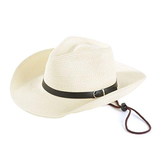Unbekannt LINGZHIGAN Männlicher Panama-Sommer-Strand-Farbton-Sonnenschutzmittel-Cowboy Sun-Strohhut-Küstenurlaub-Freizeit-breiter Rand-Visier (Farbe : Weiß)
