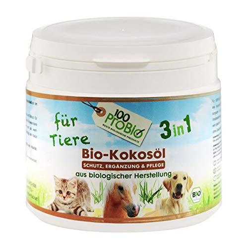 100ProBio Huile de coco pour animaux - Pure naturelle - Sans produits chimiques - Pour chiens, chats et chevaux - Pour le pelage, compléments alimentaires et plus encore.