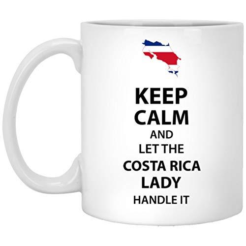 Taza personalizada con texto para el padrino, la madrina - Mantenga la calma y deje que la dama de COSTA RICA lo maneje - Regalo hilarante para abuela, tía abuela en un evento especial - Taza de cerám