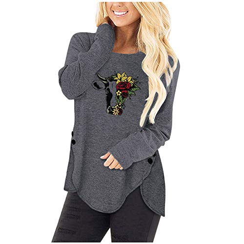Aniywn 2021 New Sweatshirt Tops Women's Funny Printing Irregular Button Hem Loose Casual Long Sleeve Pullover Blouse Top Gray