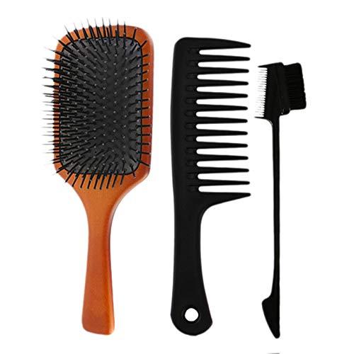 Haude Lot de 3 brosses à cheveux en bois pour massage du cuir chevelu pour améliorer la santé des cheveux en bois