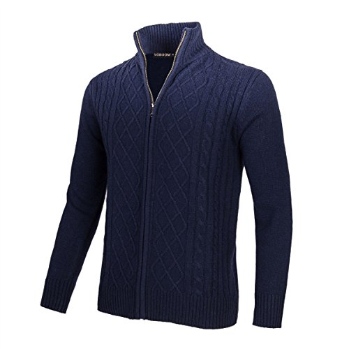 VOBOOM Mens Casual Stand Collar Cable Knitted Zip Cardigan Sweater Jacket (Navy, L)