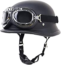 Motorcycle Half Helmet for Men with Goggles,DOT Approved German Style Skull Cap Retro Locomotive Motorbike Half Shell Helmet Low Profile Half Face Moped Scooter Helmets A,2XL=63~64CM