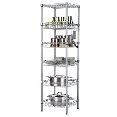 SINGAYE Storage shelves, 6-Tier Wire Storage Unit with Baskets Shelving adjustable storage shelf, 13.4  D x 13.4  W x 63  H,Silver