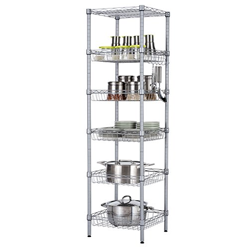 SINGAYE Storage Shelves, 6-Tier Wire Storage Unit with Baskets Shelving Adjustable Storage Shelf, 13.4