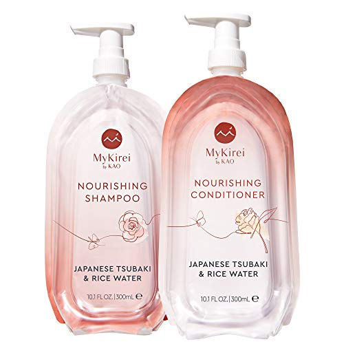 Shampoo & Conditioner Set by MyKirei By Kao, Japanese Tsubaki & Rice Water for Hair, Sustainable Bottles, 10.1 Ounces Each