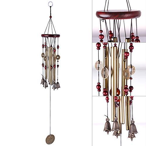 FOBFLO Nouveau Magic 4 Tubes 5 Bells Copper Yard Garden Living Carillon éolien 65cm, Or