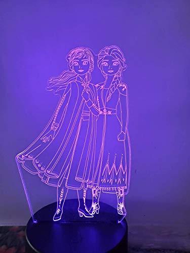 Princesa Anna Elsa Olfa Lámpara de mesa con ilusión 3D, 16 colores cambiantes, luz nocturna con mando a distancia, regalo de cumpleaños para niños