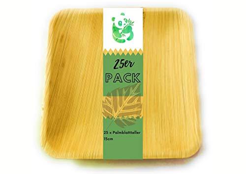Grüner Panda Palmblatt Teller 25 Stück eckig 15x15cm| Bio Einweggeschirr Palmblattgeschirr | 100% biologisch abbaubar Wegwerfgeschirr| umweltfreundlich Partygeschirr Einwegteller stabil Snackteller