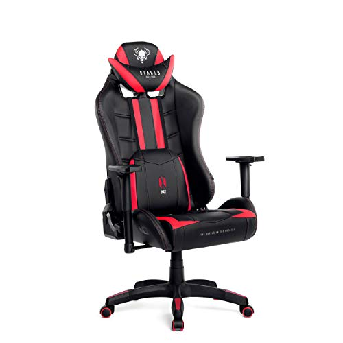 Diablo X-Ray Gaming Chaise Fauteuil Gamer Accoudoirs 4D Design Ergonomique Skaï Perforation Fonction d'inclinaison Capacité de Charge 150 kg (Noir-Rouge, L)