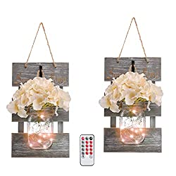 Mason Jar Wall Decor with LED Lights and Flowers on amazon