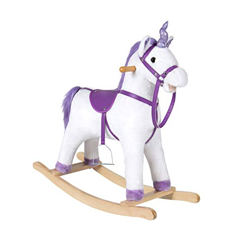 Kinbor Unicorn Rocking Horse Plush Animal Rocker with Sounds, Stirrups, Saddle and Reins