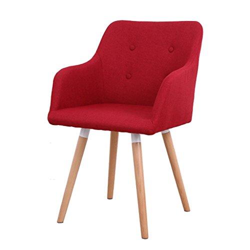Lazy Sofa LI Jing Shop - Chaise de Salle à Manger en Tissu de Bois Massif européen Chaise de Bureau à Dossier Simple (Couleur : Rose Red)