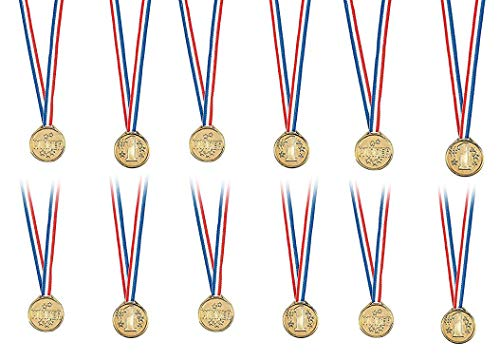 Kicko Gold Winner Medal Necklaces 1.5 Inches - Pack of 12 - Gold Plastic Winner Awards for Contests, Sports Games - for Kids - Party Favors, Bag Stuffers, Fun, Toy, Prize