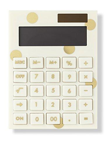 Kate Spade New York Standard Function Desktop Calculator, Acrylic Solar Powered Calculator, Gold Dot