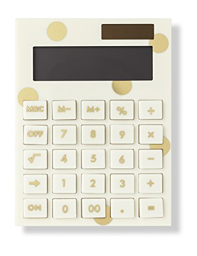 Kate Spade New York Standard Function Desktop Calculator, Acrylic Solar Powered Calculator, Gold Dot
