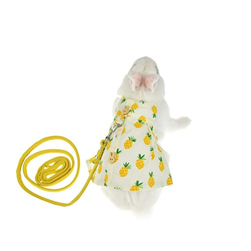 FLAdorepet Rabbit Guinea Pig Harness and Leash Set Bunny Dress Milk Mini Dog Cat Clothes for Teacup Yorkie Small Animal Apparel (S, Yellow)