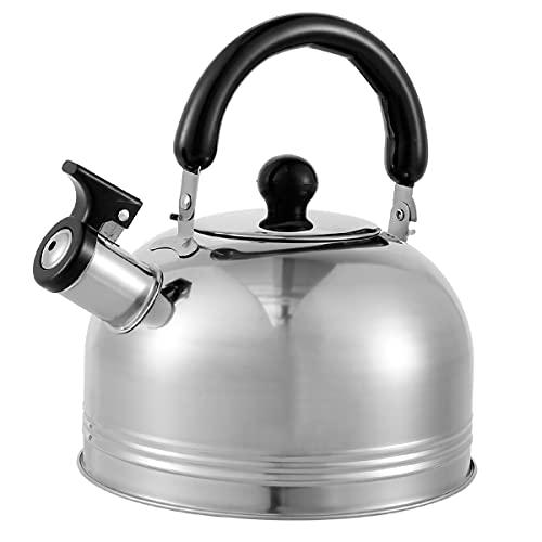Hervidor de agua Whistling Tea Kettle, de acero inoxidable con aislamiento térmico, para té, café, interior y exterior, camping, hoguera, fiesta, cocina de gas