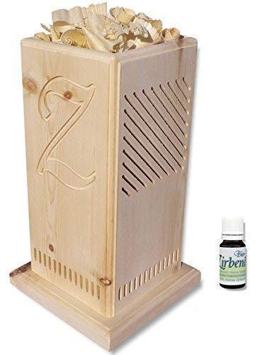 Original - Zirben-Duftsäule mit gefrästem Zirben-Z - inkl. 10ml BIO-Zirbenöl - Naturprodukt | Zirbenduftkamin | Zirbenwürfel | Zirbe