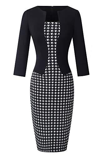 HOMEYEE Damen 3/4 Arm Business Stretch Kleid B237 (EU 40 = Size L, Houndstooth)