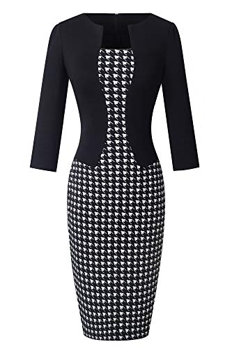 HOMEYEE Damen 3/4 Arm Business Stretch Kleid B237 (EU 38 = Size M, Houndstooth)
