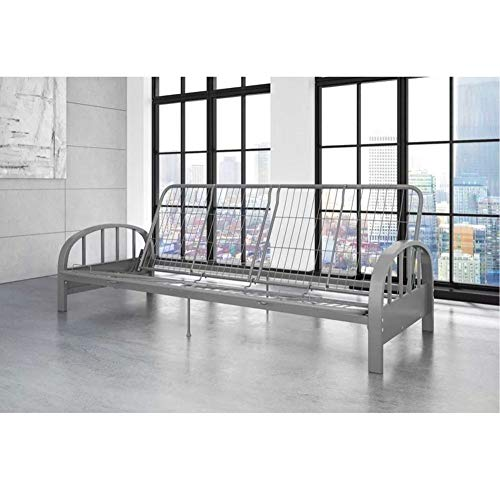 Great Deal! BS Metal Daybed Frame Full 3-in-1 Sofa Lounger Contemporary Metal Adjustable Futon Sleeper Frame with Arms Guest Home Living Room Bedroom Kids Bedroom Furniture Dorm Silver & eBook by BADA Shop