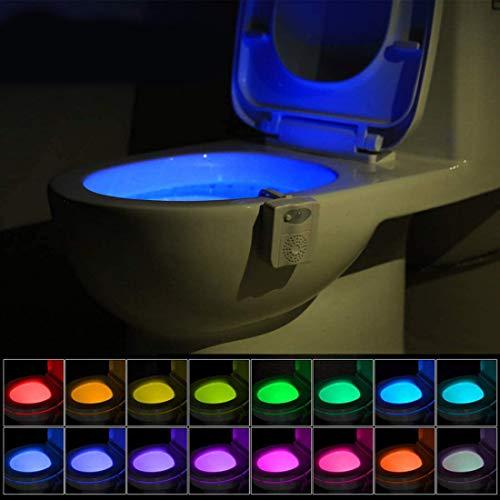 WC luz nocturna, baño LED Luz de Inodoro Luz con Detección de movimiento del sensor automático, 16 Cambio de Color con aromaterapia Ambientador, Funciona con Pilas (Sólo activa en la oscuridad)