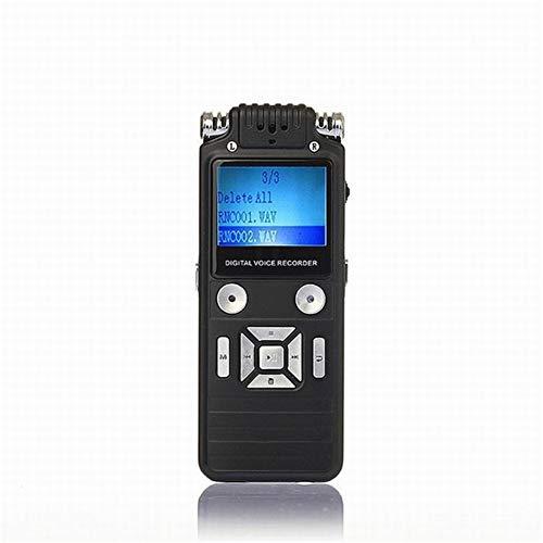 QWER Aleación de Zinc grabadora de Voz Digital de la Pluma Alta Definición dictáfono grabadora de Voz 8GB estrenar activada por Voz Reproductor de mp3 Estructura en Altavoz,Negro,8GB