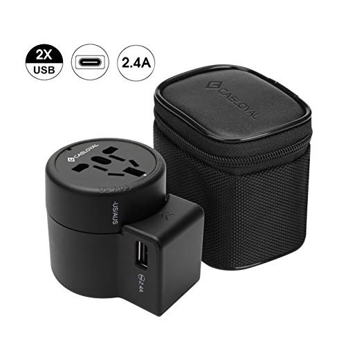 Casloyal Adaptador de Viaje con USB Base de Carga/Cargador Universal | enchufes de Viaje Adaptador/Viaje Conector | para más de 140Países etc. USA/China/Japón/Australia/Canadá y Europa UVM.