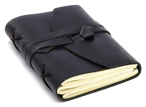 INDIARY Notizbuch Tagebuch Skizzenbuch aus echtem Leder und handgeschöpftem Papier 13 x 10 cm - Schwarz Glattleder A6 Drei Bund