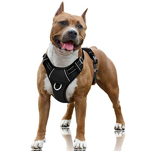 BARKBAY No Pull Dog Harness Large Step in Reflective Dog Harness with Front Clip and Easy Control Handle for Walking Training Running with ID tag Pocket(Black,L)