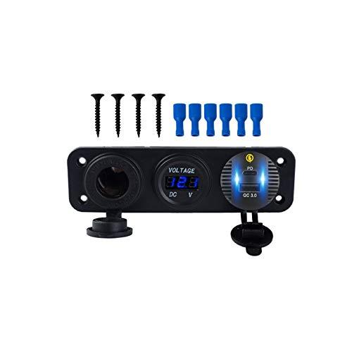 HEYLULU Car QC3.0 USB Tipo C PD Cargador rápido Voltímetro LED Salida de 12V Panel de Toma de Corriente Panel automático Negro