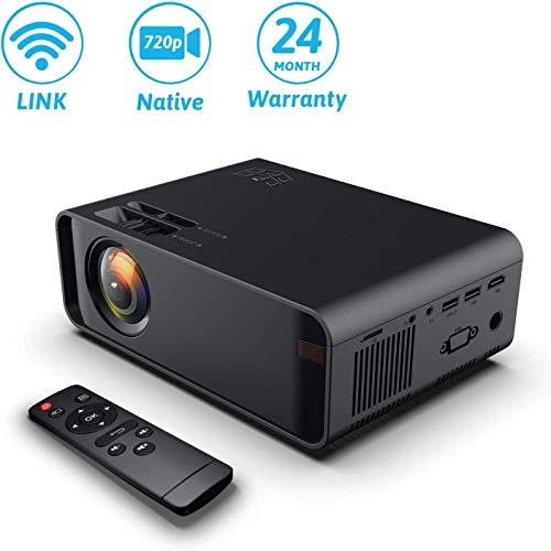 Wireless Projector, WIFI 4500Lumes 720P Home Cinema Projector 1080P Ondersteuning Bij Speaker, Direct Verbinding Met Telefoon, Tablet, PC En Laptop, Compatibel Met HDMI VGA AV USB SD,Black