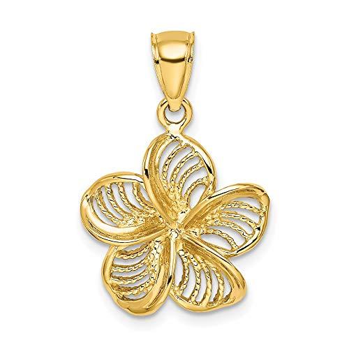 14k Yellow Gold Beaded Plumeria Flower Charm Pendant