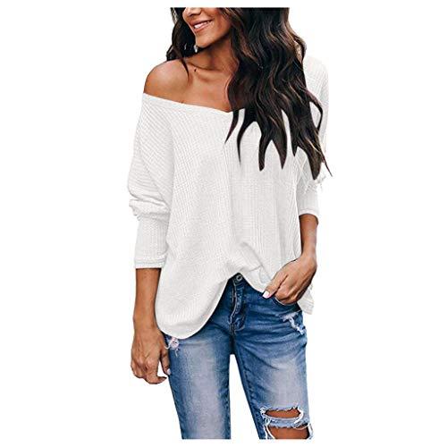 SANFASHION T-Shirts Femme Manches Longues,Pull Sweat Shirt Fine Chic,Tops Shirt Épaule Une Grande Taille Loose
