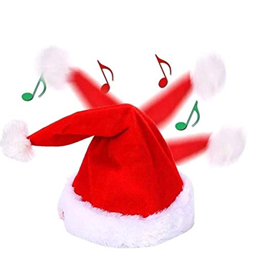 Electric Christmas Hat Singing Dancing with Plush Trim - Swing Santa Claus Velvet Cap Musical Funny Toy Xmas Gifts Red
