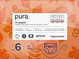 Pura Premium Eco Pannolini per bambini, taglia 6 (XL 16+ kg), 5 confezioni da 21 pannolini (105 totali), fibre vegetali naturali certificate FSC, puri, ecologici.