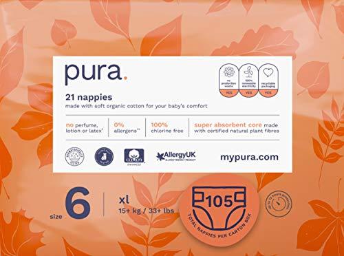 Pura - Pannolini premium per bambini, taglia 6 (XL, più di 16 kg), 5 confezioni da 21 pannolini (105 pannolini), fibre vegetali naturali certificate FSC, rispettoso dell'ambiente