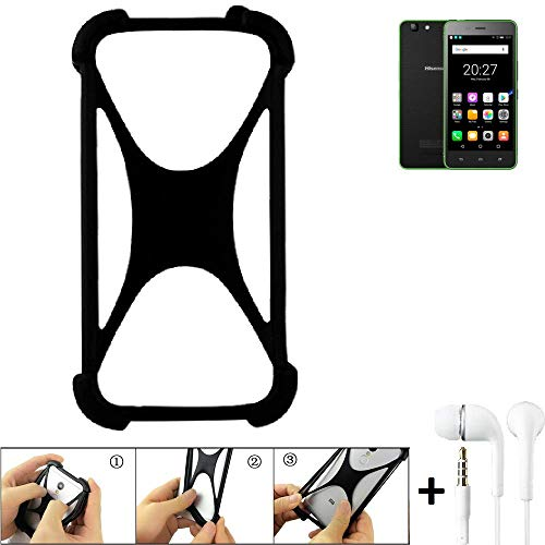 K-S-Trade® Handyhülle Für Hisense Rock Lite Schutzhülle Bumper Silikon Schutz Hülle Cover Case Silikoncase Silikonbumper TPU Softcase Smartphone, Schwarz (1x), Headphones
