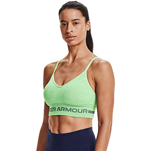 Under Armour Women's Seamless Low Long Heather Bra , Liberty Green (303)/Toddy Green , X-Small